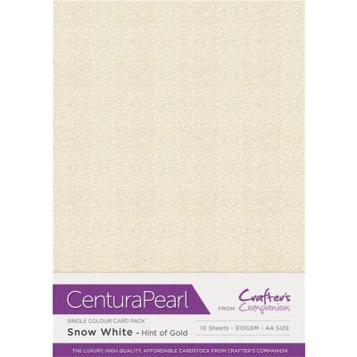 Crafter´s Companion Centura Pearl, A4, 310g, 10 Blatt, Snow White - Hint of Gold