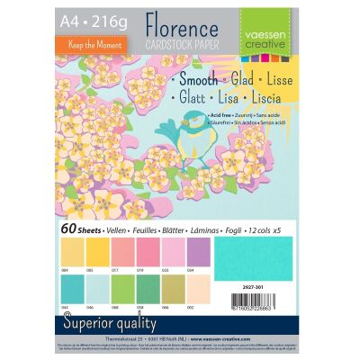 Florence Cardstock smooth Multipack, A4, 216g, 12x5 Blatt: Spring