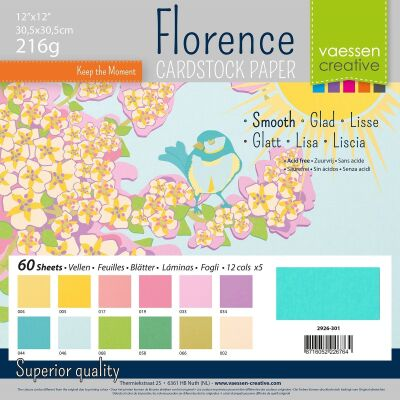 Florence Cardstock smooth 30,5x30,5 Multipack, 216g, 12x5 Blatt: Spring