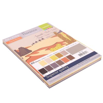 Florence Cardstock smooth Multipack, A4, 216g, 12x5 Blatt: Earth Tones