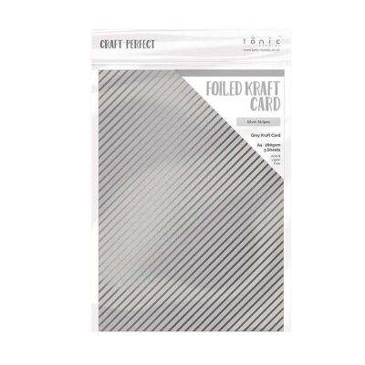 Tonic Studios Craft Perfect, Foiled Card, A4, 5x 280g, Silver Stripes