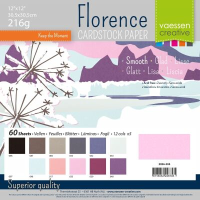 Florence Cardstock smooth 30,5x30,5 Multipack, 216g, 12x5 Blatt: Winter