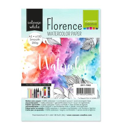 Florence Watercolor Paper,  A5, 200g, 100 Blatt, smooth, Farbe: intense white