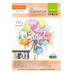 Florence Watercolor Paper,  A4, 200g, 12 Blatt, smooth,...