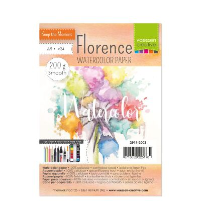 Florence Watercolor Paper,  A5, 200g, 24 Blatt, smooth, Farbe: soft white