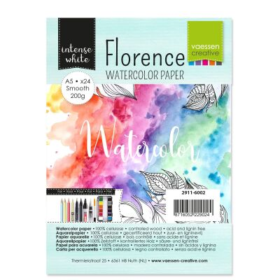 Florence Watercolor Paper,  A5, 200g, 24 Blatt, smooth, Farbe: intense white
