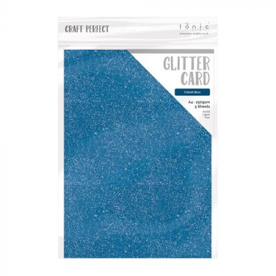 Tonic Studios Craft Perfect Glitter Card, A4 250g, 5 Blatt, Cobalt Blue