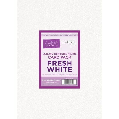 Crafter´s Companion Centura Pearl, Double Sided, A4, 310g, 40 Blatt, Farbe: Fresh White